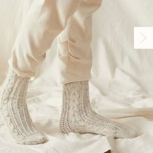 Free People Cozy Speckled Cable cree socks.